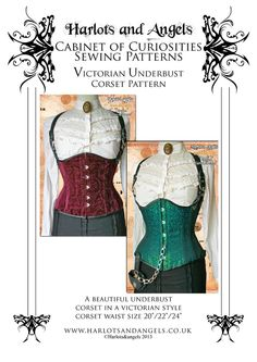 Victorian Underbust Corset Sewing Pattern Steampunk costume SMALL