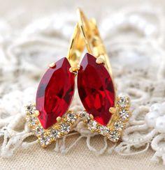 Ruby Red earrings Swarovski Ruby Red Drop earringsRed Ruby Emerald Green Earrings, Ruby Earrings, Heart Earrings, Crystal Earrings, Dangle Earrings, Rhinestone Earrings, Diamond Earrings, Bridesmaid Earrings, Bridal Earrings