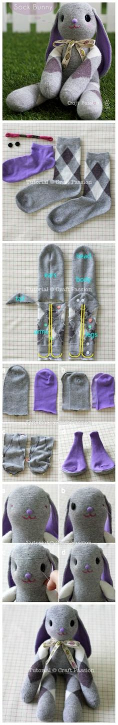 "diy_crafts-Conejo ""Floppy Eared Sock Bunny Free Pattern Video Tutorial Oh!"", ""DIY Adorable Sock Bunny - this would be such a cute and fun DIY Sewing Toys, Sewing Crafts, Sewing Projects, Craft Projects, Sock Crafts, Fabric Crafts, Fun Crafts, Doll Patterns, Sewing Patterns"