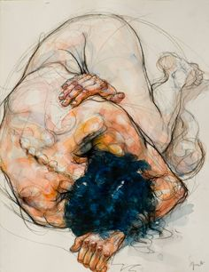 """Saatchi Art Artist Sylvie Guillot; Watercolor Painting, """"Emmanuelle huddled up"""" #art 