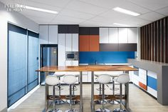 Rivals of the Companies Behind These 7 Innovative Offices are Green with Envy Office Canteen, Innovative Office, Workspace Design, Interior Design Magazine, Break Room, Kitchenette, Room Colors, Colours, Commercial Design