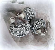 Купить Комплект из 3 новогодних шаров Кружевной - черно-белый, елочные игрушки, шары на елку
