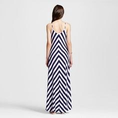 Women's Striped Maxi Dress Navy XS - Vanity Room, Blue