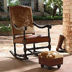 Hair on hide rocking chair ~ turnstyle frame with a walnut finish, the seat is made of junique brown leather while the seat back is constructed of all leather. The natural antique nailhead trim adds ranch style. Cowhide Furniture, Western Furniture, Lodge Furniture, Refinished Furniture, Furniture Ideas, Home Interior, Interior Design Living Room, Living Room Decor, Rustic Dining Chairs