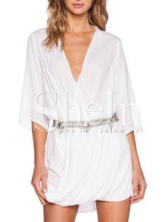 White Long Sleeve Deep V Neck Dress -SheIn(Sheinside) Mobile Site
