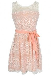 Isabelle Lace Dress in Peach