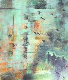 """Miejskie Ptaki""-60x70 akyrl na płótnie Abstract, Artwork, Painting, Summary, Work Of Art, Auguste Rodin Artwork, Painting Art, Artworks, Paintings"