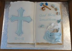 First Communion Cake Decorations | baptisim cake bible baptisim cake decorations made from gumpaste ...
