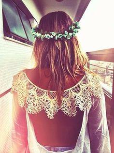 Boho crown  crochet bohemian boho style hippy hippie chic bohème vibe gypsy fashion indie folk look outfit