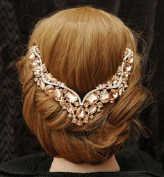 [Interesting look!  Makes me think of a sweetheart neckline, a Basque waist, or Jesus descending like a dove.]  Bridal Headpiece, Bridal Hair Chain Accessories, Rose Gold Headpiece,  Wedding Headpiece, Bridal Head Chain, Wedding Headband