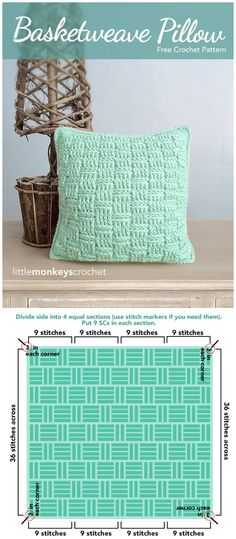 I have rounded up a list of #crochet #Pillow patterns that will help you out to make your home well organized and more beautiful. Basketweave Throw Pillow