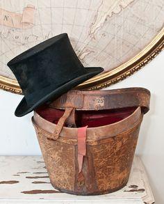 Antique Beaver Top Hat & Leather Case via Paris Hotel Boutique