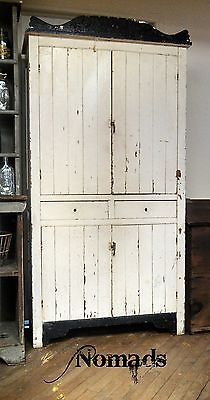 Antique Primitive Early Large Old Pie Safe Cabinet Black and White#followitfindit