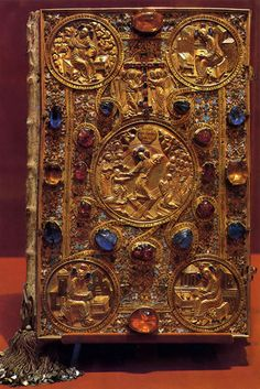 Bible of Tzar Ivan The Terrible, a gift to the Cathedral of the Annunciation, the 16th century.Saphires, rubies, and turquoise were the favorite jewels of the Tzar. Highly believing in magic characters of these jewels he ordered to cover books with them and even apply them to his wounds.