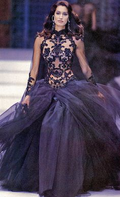 Amazing couture navy ball gown.  Beads over nude bodice and voluminous tulle skirt.