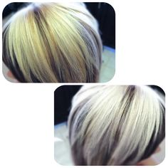 Platinum blonde hair color with low lights