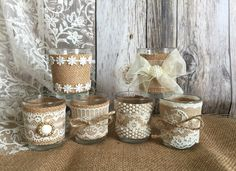 A personal favorite from my Etsy shop https://www.etsy.com/listing/264873777/6-rustic-natural-color-burlap-and-lace