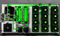 Thermaltake - Two modded Core P 5 - green - watercooled -  Riing fans green LED