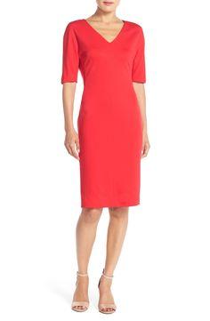 Eliza J V-Neck Ponte Sheath Dress