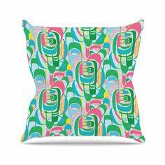 KESS InHouse AR2006AOP03 18 x 18-Inch 'Amy Reber Rainbow Geometric Blue Green' Outdoor Throw Cushion - Multi-Colour