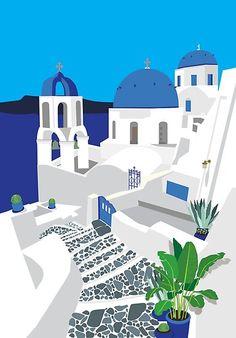 Santorini Poster  | House illustration  #illustration #houseillustration #art #artwork House Illustration, Travel Illustration, Digital Illustration, Greece Painting, Guache, Vintage Travel Posters, Canvas Art Prints, Framed Canvas, Framed Prints