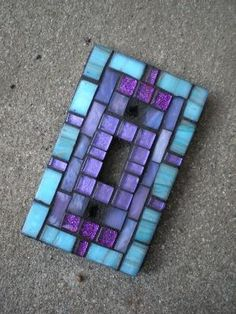 Glass Mosaic Light Switch Plate Cover. by jeanette
