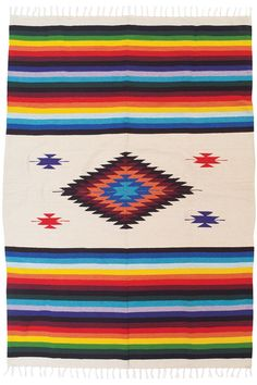Mazatlan Blanket with Intricate Mexican Saltillo Diamond, Hand-Woven. Heavy 4-pound Blanket Designed in Colorful Mexican Mazatlan Trade Blanket style. Vivid colors complement an intricate loom-woven diamond pattern with fringed ends. Inspired by mid 19th century tribal weaving patterns combined with Spanish Missionary designs. Measures approximately 5 ft x 7 ft. Ideal decorative bedspread, tapestry, yoga blanket, or throw. Woven on a traditional hand loom from thick acrylic spun yarn.
