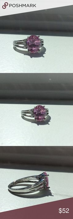 4ct Pink Sapphire and diamond ring 925 SS 4 ct pink sapphire ring with three diamonds on either side in sterling silver 925.✨ Jewelry Rings