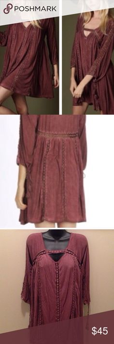 """NWT Festival Ready Crocheted Lace Dress 5⭐️RATED❗️New in original packaging. Boho festival ready crocheted lace trim swing dress or tunic in a mineral washed burgundy for a vintage feel.  Pair with boots or sandals to wear all year.  Lace panels are see through, so you may choose to wear a slip or tank and tights/leggings, 3/4 length sleeves with tassel ties.  Approx measurements laying flat: SMALL chest 20"""" length 31"""" MED chest 21"""" length 31.5"""" I am a size 6 and would wear a medium in this…"""