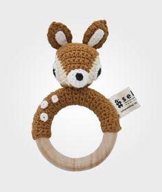 sebra Rattle On Wooden Ring Deer коричневый