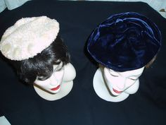 Two beautiful evening hats in the classic beret style. They would be from the 1950's or before.  Hats like this might have been worn with the type of dresses I've been showing lately.  …