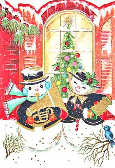 vintage Christmas snow man playing instrument, snow woman with accordion, musical, window, tree