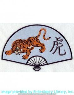 Stickmotiv Stickbild Aufnäher Stickerei Emblem Asien Tiger Tiger / Stickerei Japanese Fan and Tiger (D1215)