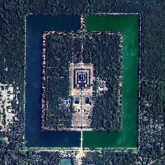 Angkor Wat is a temple complex in Cambodia that is the largest religious monument in the world (first it was Hindu then Buddhist). Constructed in the 12th century the 820000 square meter site features a moat and forest that harmoniously surround a massive temple at its center. by dailyoverview