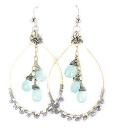 Gyspy Earrings with Iolite and Sea foam by KShonkDesigns on Etsy, $68.00