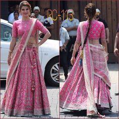 You can be assured to make a great style statement with this pink bangalori satin silk lehenga. This lehenga is enhanced with embroidery work. Buy this latest designer lehenga choli online .Paired with matching choli and net dupatta Lehenga Dupatta, Bollywood Lehenga, Lehnga Dress, Lehenga Blouse, Sabyasachi, Bollywood Fashion, Pink Lehenga, Bollywood Actress, Sarara Dress