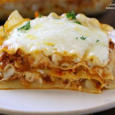 There is a special ingredient that makes this lasagna without ricotta cheese still creamy and delicious. Everything bakes up bubbly and perfect!