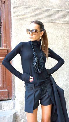 NUOVO Sexy elegante unico Shorts / nero pantaloni di lana
