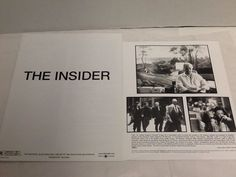The Insider Photo Press Kit 1999 Russell Crowe Al Pacino Christopher Plummer
