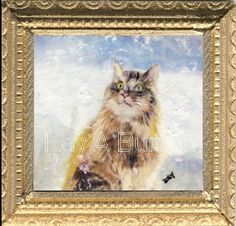Watching Snowflakes Miniature Paintings, Snowflakes, Miniatures, Dolls, Cats, Frame, Artist, Pictures, Animals