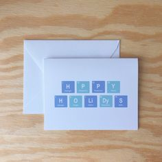 Happy Holidays greeting card periodic table by Wanderlust25PaperCo