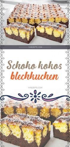 Schoko Kokos Blechkuchen easy 3 ingredients easy for a crowd easy healthy easy party easy quick easy simple Easy Vanilla Cake Recipe, Easy Cupcake Recipes, Chocolate Cake Recipe Easy, Easy Smoothie Recipes, Chocolate Chip Recipes, Easy Desserts, Snack Recipes, Cake Chocolate, Coconut Sheet Cakes