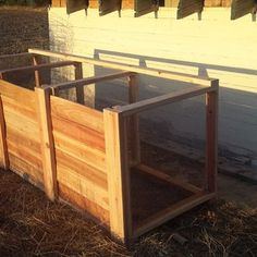 The Best Triple Compost Bin : 5 Steps (with Pictures) - Instructables Build Compost Bin, Homemade Compost Bin, Wooden Compost Bin, Garden Compost, Kitchen Waste, Wooden Slats, Garbage Can, Baseboards, Garden Projects