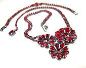 Weiss Ruby Red Set Necklace Bracelet Rich Gun Metal Setting 1950s Vintage Rhinestone Jewelry