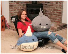 Giant Narwhal and Shark - free crochet pattern