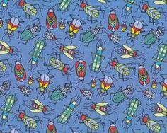 Patchworkstoff BUGS mit kleinen Krabbeltieren und Käfern, taubenblau-rot