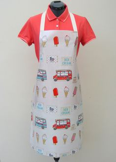 Oilcloth Apron Ice Creams and Ice Cream Vans by OneLeggedGoose