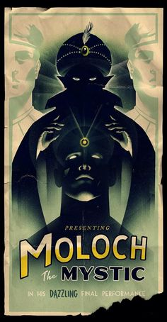 Cool Art: 'Moloch the Mystic' by Olly Moss Vintage Movies, Vintage Posters, Magician Art, Olly Moss, Dc Comics, Manhattan, Circus Poster, Pulp, Pop Culture Art