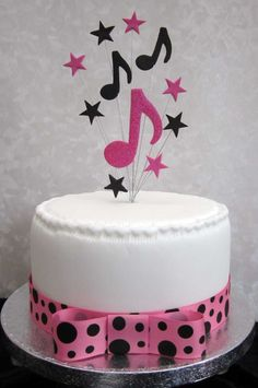 Musical Notes Cake Topper Hot Pink And Black Suitable for A Small Cake Or Cupcake: Amazon.co.uk: Kitchen & Home