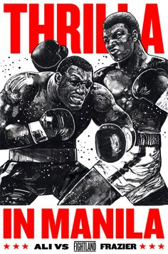 """Thrilla in Manila"" Muhammad Ali vs Joe Frazier artwork by Gian Galang : if you love #MMA, you'll love the #UFC & #MixedMartialArts inspired fashion at CageCult: http://cagecult.com/mma"